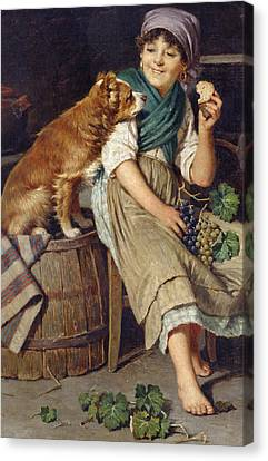 Girl With Dog Canvas Print by Federico Mazzotta