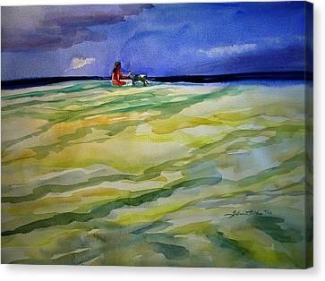 Girl With Dog On The Beach Canvas Print by Julianne Felton