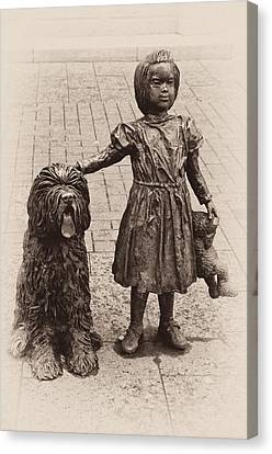 Girl With Dog Canvas Print