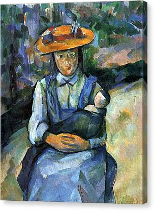 Girl With Doll By Cezanne Canvas Print by John Peter