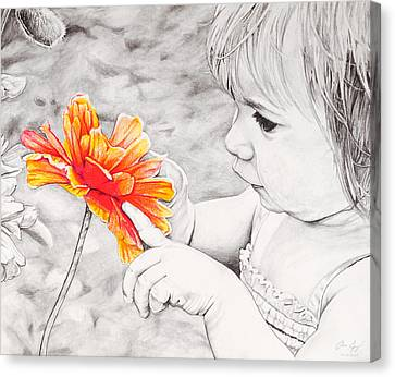 Sweet Touch Canvas Print - Girl With Flower by Aaron Spong
