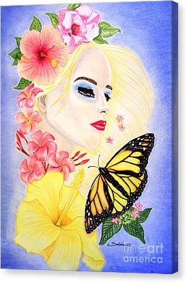 Girl With Flowers And Butterfly Canvas Print