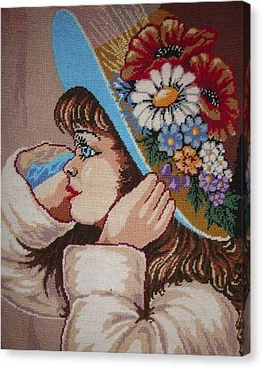 Girl With Flowers Canvas Print by Eugen Mihalascu