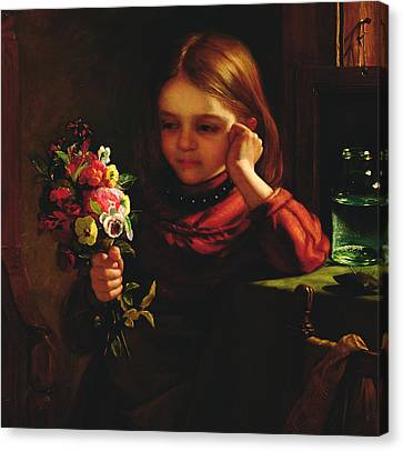 Contemplative Canvas Print - Girl With Flowers by John Davidson