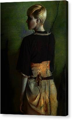 Girl With Green Background Canvas Print