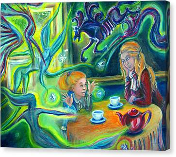 Girl With Her Mom And Great Imagination Canvas Print by Vanja Zogovic