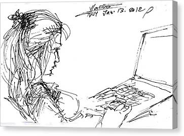Girl With Laptop  Canvas Print by Ylli Haruni