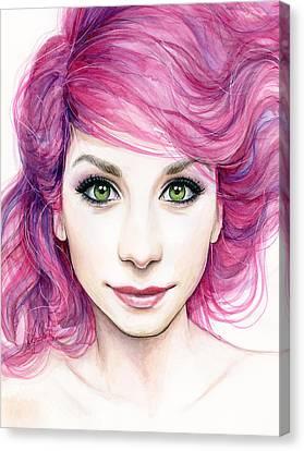 Girl With Magenta Hair Canvas Print by Olga Shvartsur