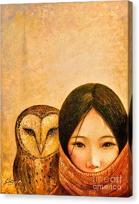 Girl With Owl Canvas Print by Shijun Munns