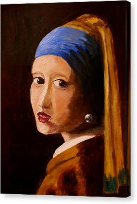 Girl With Pearl Canvas Print by Constantinos Charalampopoulos