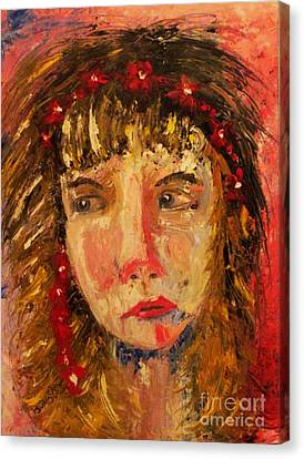 Girl With Red Flowers In Her Hair Canvas Print by Judy Morris