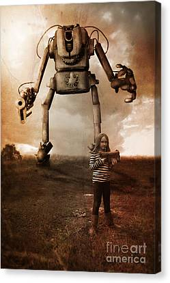 Girl With Robot Canvas Print by Christopher Moonlight