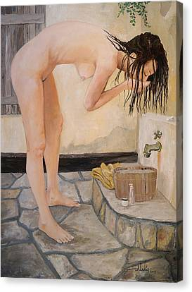 Girl With The Golden Towel Canvas Print by Alan Lakin