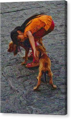 Girl With Two Dogs Canvas Print by Mary Machare