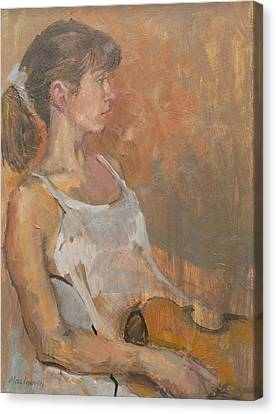 Sombre Canvas Print - Girl With Violin, 2007 Oil On Canvas by Pat Maclaurin