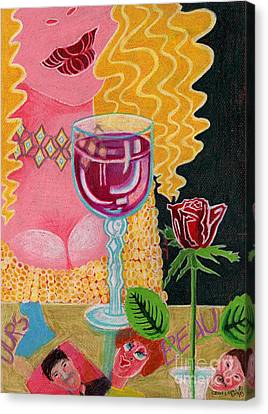 Girl With Wine Glass Canvas Print by Genevieve Esson
