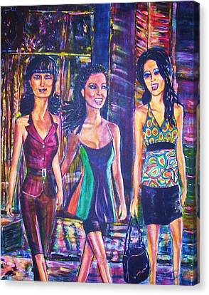 Girlfriends Canvas Print by Linda Vaughon