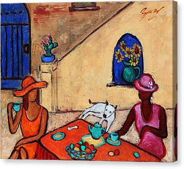 Canvas Print featuring the painting Girlfriends' Teatime II by Xueling Zou