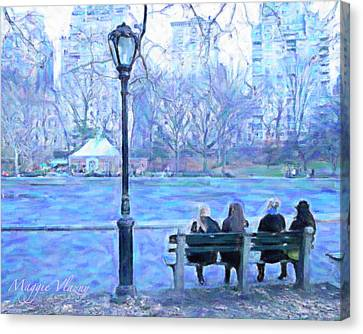 Girls At Pond In Central Park Canvas Print