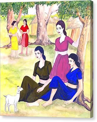 Girls Chatting Canvas Print by Priyanka Paul