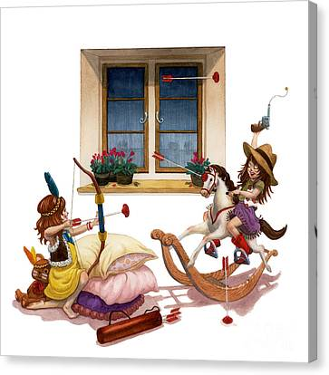 Girls Cowgirl Vs Indian Canvas Print by Isabella Kung