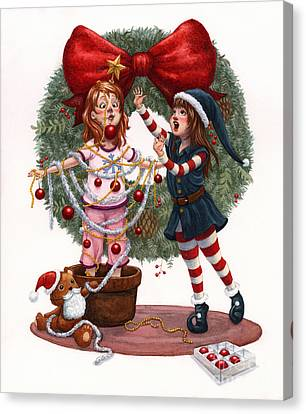 Girls Decorating For Christmas Canvas Print by Isabella Kung