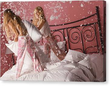 Girls Having A Pillow Fight Canvas Print by Don Hammond
