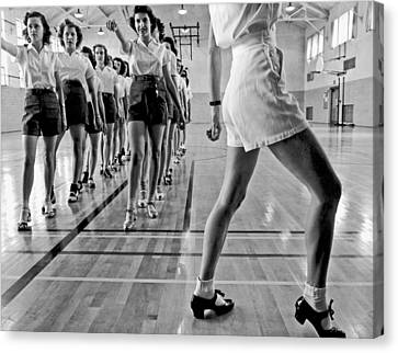 Girls In A Tap Dancing Class Canvas Print by Underwood Archives