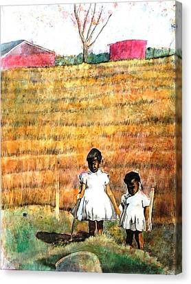 Girls In The Field Canvas Print by Ron Carson