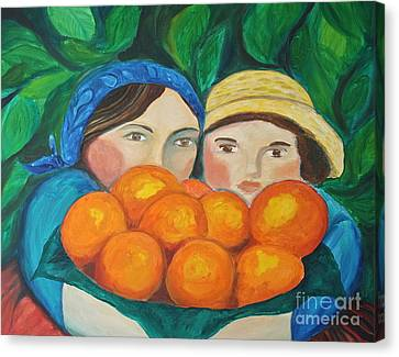 Girls In The Orange Grove Canvas Print by Teresa Hutto