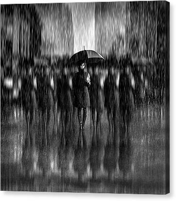 Repetition Canvas Print - Girls In The Rain by Antonyus Bunjamin (abe)