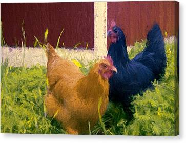 Girls In The Yard Canvas Print