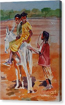 Girls Play Canvas Print by Mohamed Fadul