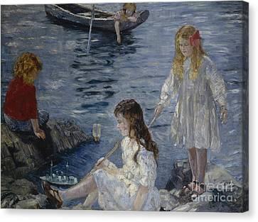 Girls Playing By The Beach Canvas Print by Halfdan Stroem
