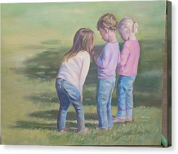 Girls Texting Canvas Print