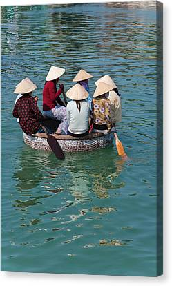 Girls With Conical Hats In Bamboo Canvas Print by Keren Su