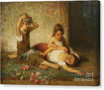 Girls With Flowers Canvas Print by Celestial Images
