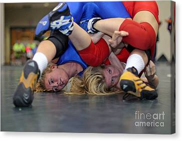 Canvas Print featuring the photograph Girls Wrestling Competition by Jim West