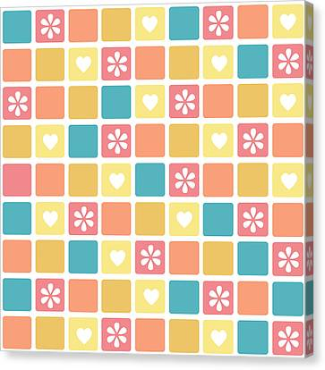 Canvas Print featuring the digital art Girly Heart Square Pattern Retro Daisy Flowers by Tracie Kaska