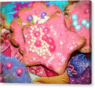 Canvas Print featuring the painting Girly Pink Frosted Sugar Cookies by Tracie Kaska