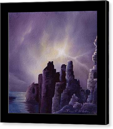 Headstones Canvas Print - Girnigoe Castle by James Christopher Hill