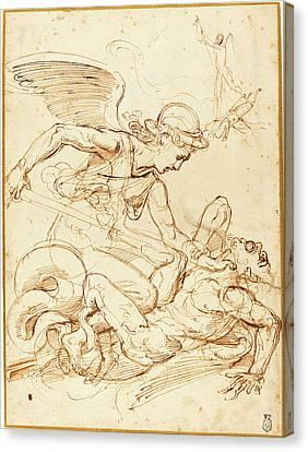Giulio Romano, Italian 1499-1546, Saint Michael Canvas Print by Litz Collection