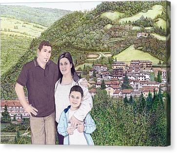 Canvas Print featuring the painting Giusy Mirko And Simone In Valle Castellana by Albert Puskaric