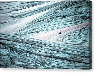 Glacial Crevasses And Pink Algae Blooms Canvas Print by Peter J. Raymond