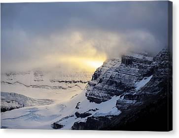 Canvas Print featuring the photograph Glacier Above Lake Louise Alberta Canada by Mary Lee Dereske