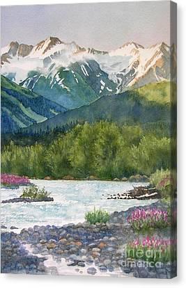 Glacier Creek Summer Evening Canvas Print by Sharon Freeman