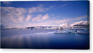 Glacier Floating On Water, Jokulsarlon Canvas Print by Panoramic Images