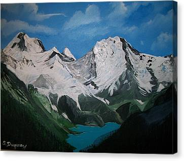 Canvas Print featuring the painting Glacier Lake by Sharon Duguay