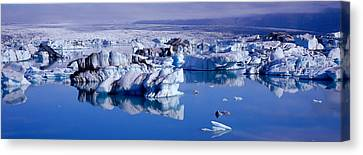 Glaciers Floating On Water, Jokulsa Canvas Print by Panoramic Images
