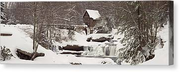 Glade Creek Grist Mill In Winter Canvas Print by Panoramic Images